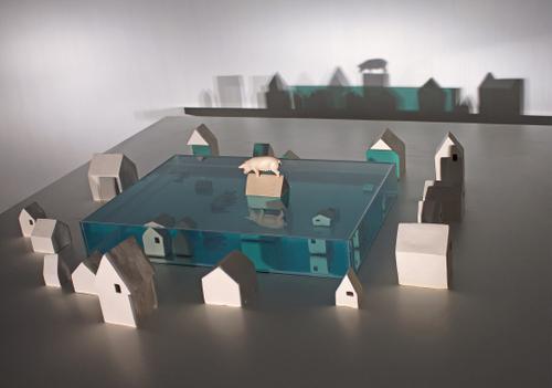 Amostra para alagamento noturno  I 2015  I vidro,água, acrílica, plástico, cerâmica  I 100 x 87 x 17 cm